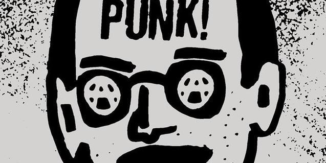 Dibuix d'un home amb unes ulleres amb la lletra A d'anarquisme als vidres i la paraula punk al front