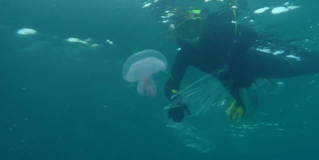 Submarinista amb una medusa