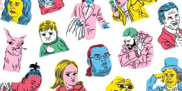 Un collage con dibujos de diversos personajes de la cultura popular