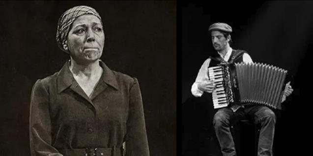 La actriz Rosa Andreu y el acordeonista Ferran Barrios