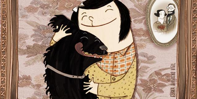 Il·lustració del llibre, la nena protagonista amb el gos