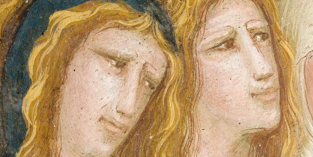 Detall d'una de les pintures presents al Monestir de Pedralbes