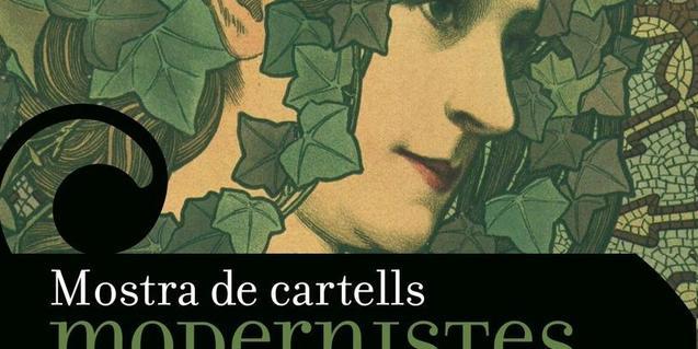 Cartel que anuncia la exposición con el dibujo de estilo modernista de una mujer