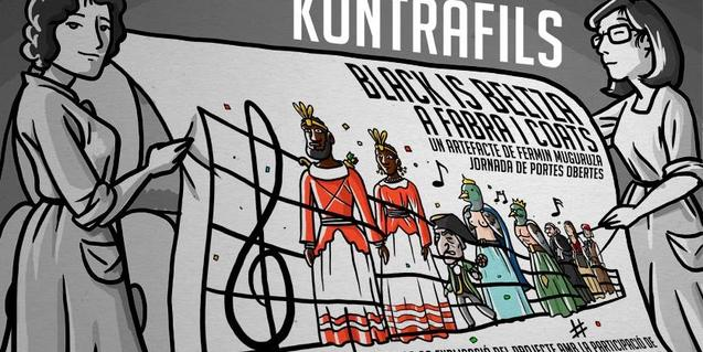 Alguns dels personatges del còmic de Fermín Muguruza, en un cartell