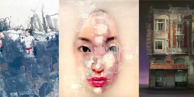 Collage con imágenes de obras de Liu Guangyun, Marta Lafuente y Leticia Gaspar
