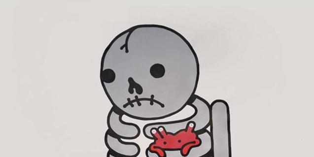 Uno de los esqueletos de estilo naif del artista Muretz