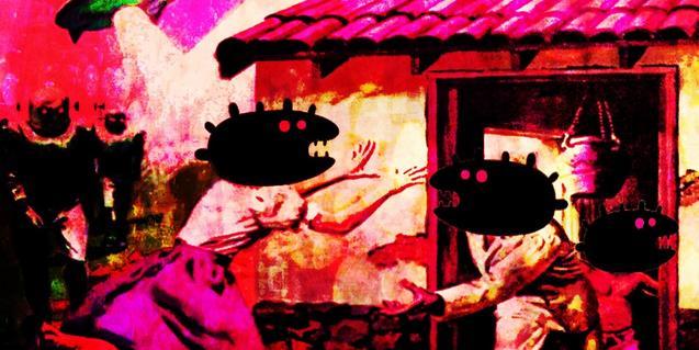 El cartell de l'esdeveniment mostra un collage que simula un poble atacat per extraterrestres