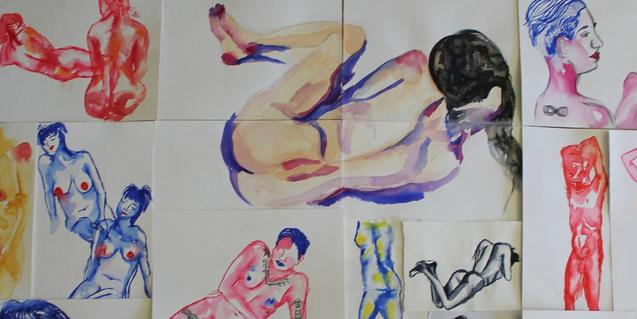 Un collage realizado con dibujos de modelos desnudos