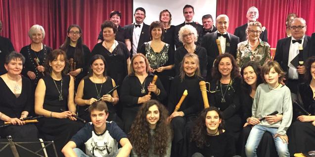 Retrat de grup dels components d'aquest grup de flautes dolces