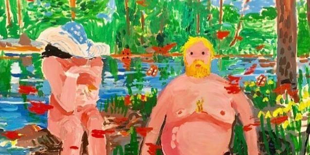 Una de las obras de la exposición muestra a una pareja que se baña en un río donde nada un cisne convertido en aparato de televisión
