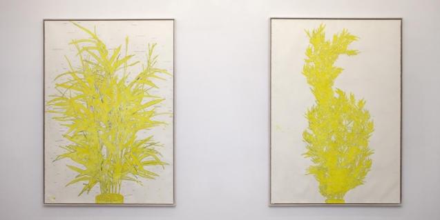 Dos de las obras que forman parte de la exposición y que muestran dos plantas de mimbre hechas con fibras artificiales