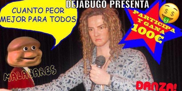Cartel que anuncia el concurso de la compañía Dejabugo con la imagen de un cantante con un micro en la mano