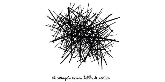 La imatge del cartell mostra un dibuix que reprodueix les línies deixades per un ganivet sobre una fusta de tallar