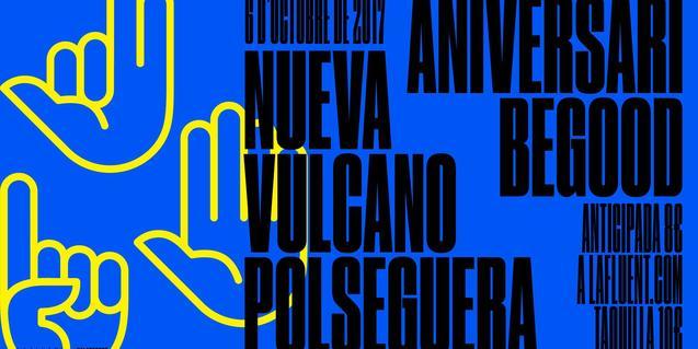 El cartell que anuncia el concert mostra el dibuix d'una mà estesa i els noms escrits de Nueva Vulcano i Polseguera