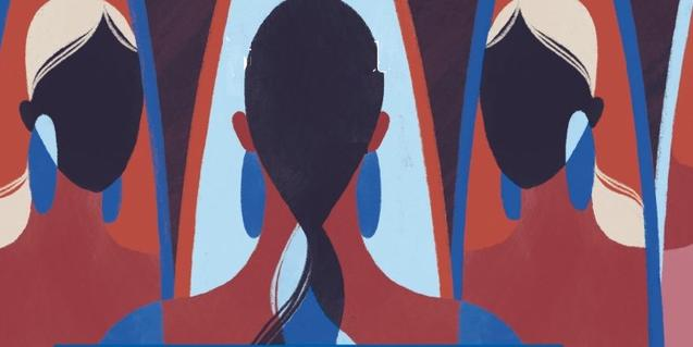 Una de les obres exposades mostra un seguit de perfils femenins consecutius