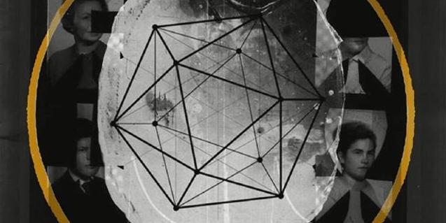 Un collage de figures geomètriques i fotografies antigues al cartell que anuncia el concert