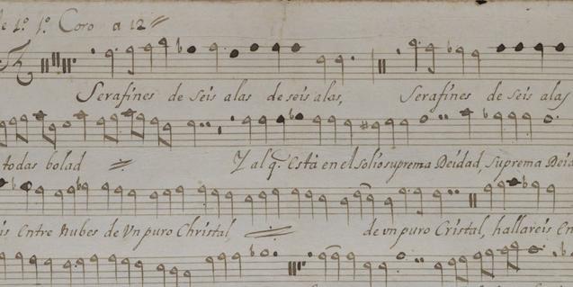 Partitura de un villancico del fondo musical de la Catedral de Barcelona, uno de los fondos digitalizados de la Biblioteca de Catalunya