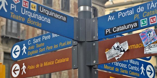 Un indicador al barri de Sant Pere assenyala els punts d'interès del barri