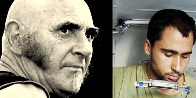 Dos retratos de Pau Riba (a la izquierda) y del músico Mau Boada (a la derecha)