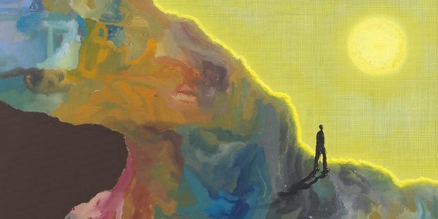 Una de las obras que se pueden ver en la exposición muestra una figura humana paseando por un paisaje abstracto con un gran sol al fondo