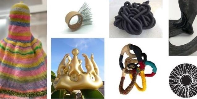 Un collage con diversas obras en exposición que aluden al virus de la COVID-19