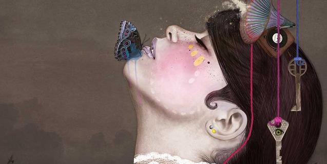 Dibujo de la cabeza de una chica con motivos alusivos al paso del tiempo y la memoria