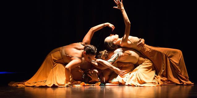 Fotografía de las bailarinas en el escenario