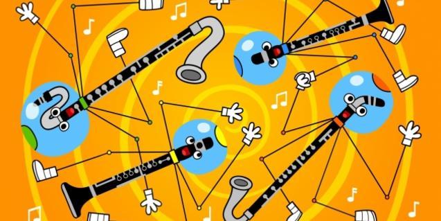 Cartell del concert, il·lustració amb clarinets