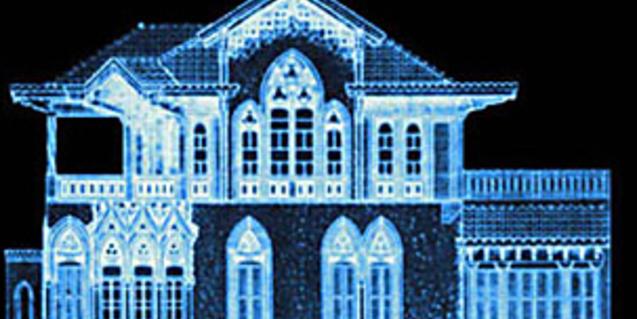 Una imatge en negatiu de la façana de la Casa Golferichs