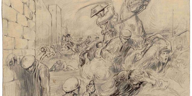 Dibujo que se puede ver en la exposición temporal del Castillo de Montjuïc