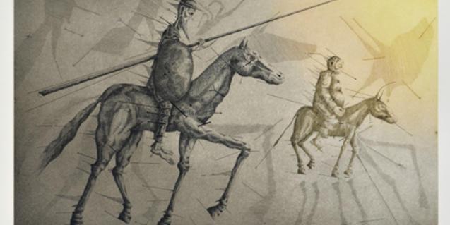 Aiguafort de Joan Ponç dedicat al Quixot i que es pot veure aquests dies a la Galeria Eude