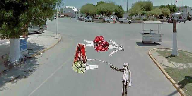 Collage de una fotografía de Google Street de una calle de México y el dibujo de un niño que muestra un asesinato