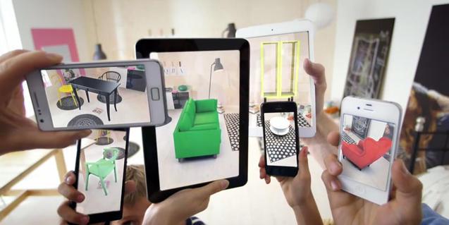 Imagen de unos cuantos móviles aumentando la realidad