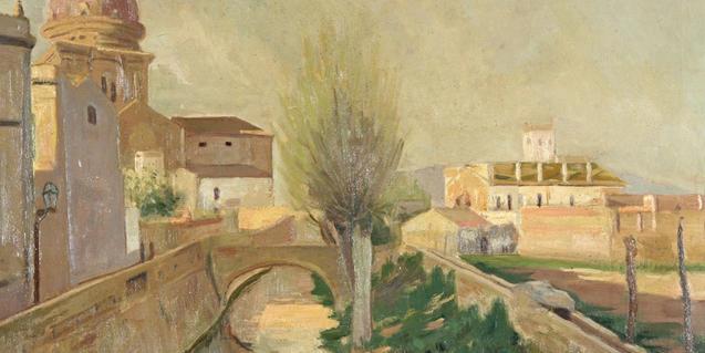 Pintura de Santiago Rusiñol de la Acequia Condal a su paso por Sant Andreu