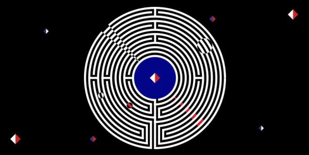 La imatge zenital d'un laberint sobre fons negre serveix de cartell a la trabada