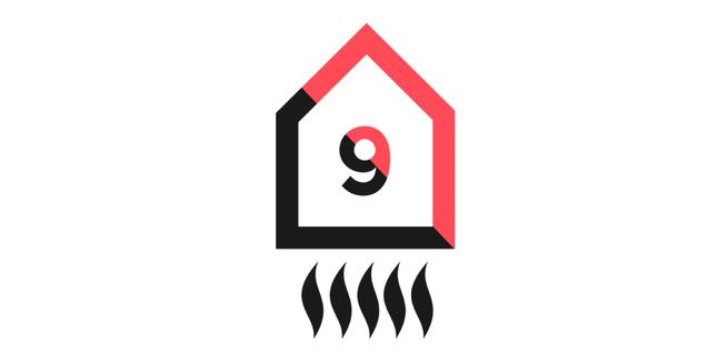 Logotipo de Rehogar en forma de casa con el número nueve en su interior