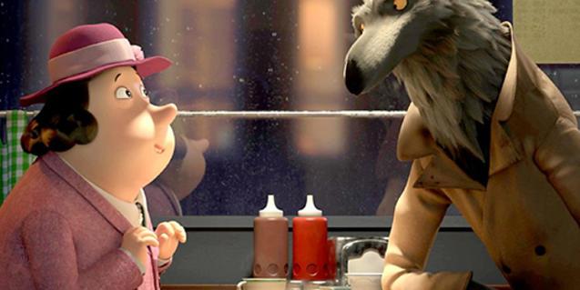 Fotograma de la película, el lobo conversando con una señora en una cafetería