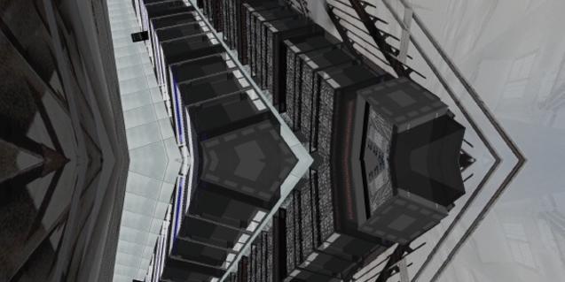 Una imatge de la instal·lació creada per Robert Cervera i que simula una gran central d'emmagatzematge de dades