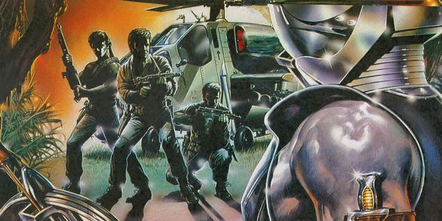 Cartell d'un dels films que es projecten i que mostra un robot enfrontant-se a tres éssers humans