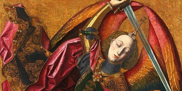 A fragment of Bermejo's painting 'Saint Michael triumphant over the Devil with the Donor Antonio Juan'