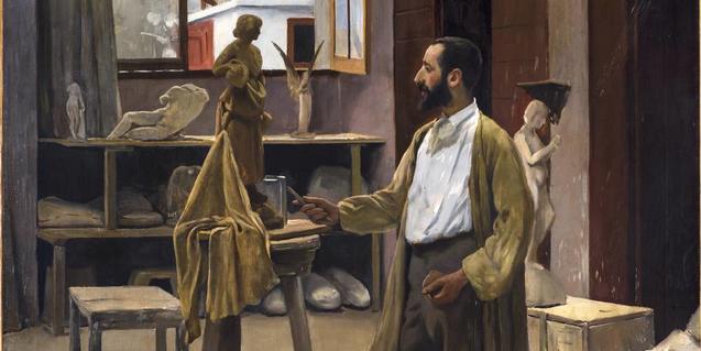'Enric Clarasó al seu taller' de Santiago Rusiñol