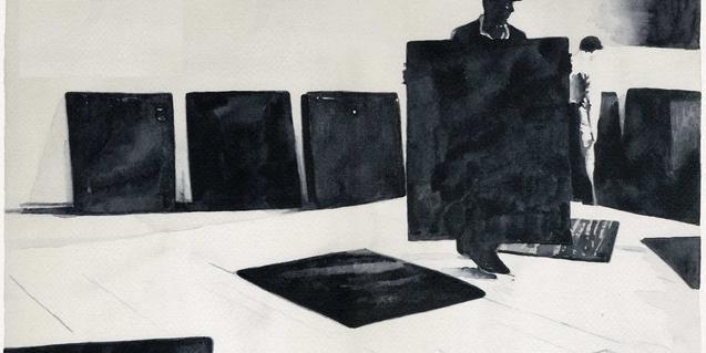 Una de las obras del artista muestra a un hombre en una galería sujetando un cuadro