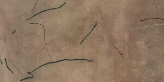 Una de les obres realitzades amb línies i gargots que formen part de l'exposició
