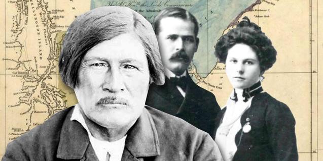 Collage amb un mapa de Sud-Amèrica i siluetes de fotos antigues de persones relacionades amb la història de l'explotació dels recursos del continent