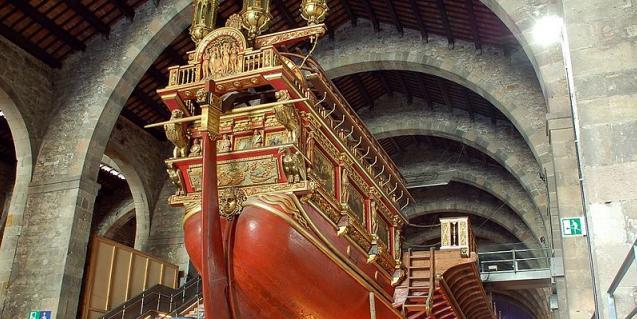 La Galera Reial, el vaixel més impressionant del museu.