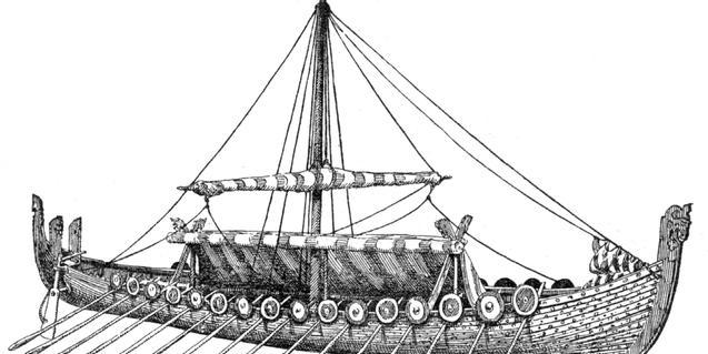Ilustración de un barco vikingo