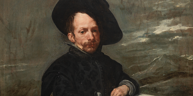 A detail from the painting 'Buffoon with Books' by Velázquez, which can be seen in the exhibition.