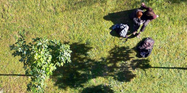 Imagen de una pareja en un espacio verde