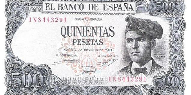 Billete de 500 pesetas con el rostro de Verdaguer emitido en 1971