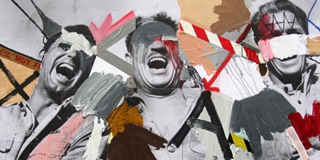 Una de las obras de Skum que muestra una fotografía pintada y recortada de tres hombres adultos